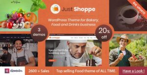 Justshoppe – Elementor Cake Bakery WordPress Theme
