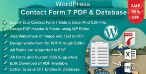WordPress Contact Form 7 PDF, Google Sheet & Database