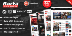 Read more about the article Barta – News & Magazine WordPress Elementor Theme