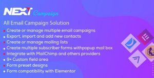 Next Campaign – Manage Contacts / Email Marketing / Subscribe WordPress Elementor Plugin