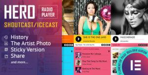 Hero – Shoutcast and Icecast Radio Player With History – Elementor Widget Addon